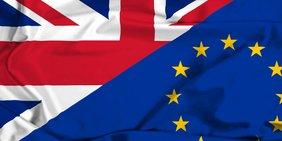 Flagge halb Europa halb Großbritannien