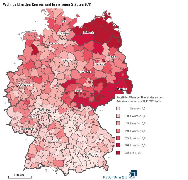 Grafik Deutschlandkarte Wohngeld in Kommunen