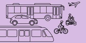 Bus, Bahn, Auto, Fahrrad, Auto, Roller, Flugzeug