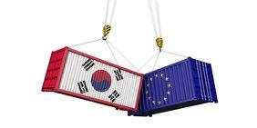 Zwei Schiffscontainer, links mit der koreanischen Flagge und rechts mit Flagge der Europäischen Union