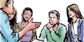Zeichnung: Diverse Gruppe von Menschen, die gemeinsam diskutieren