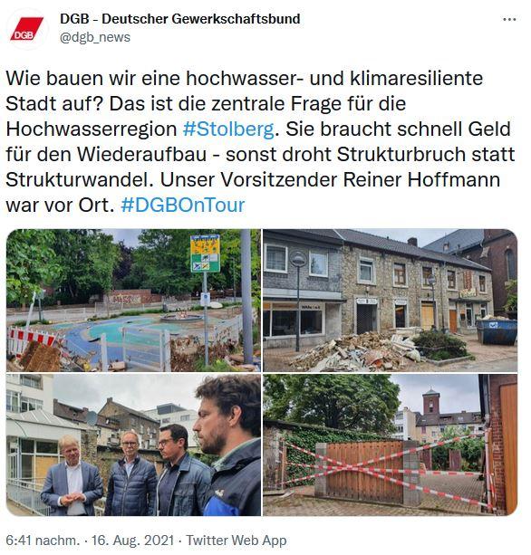 Foto vom DGB und Reiner Hoffmanns Sommerreise in Stolberg. Reiner Hoffmann spricht mit betroffenen Bewohnern und besichtigt die Schäden.