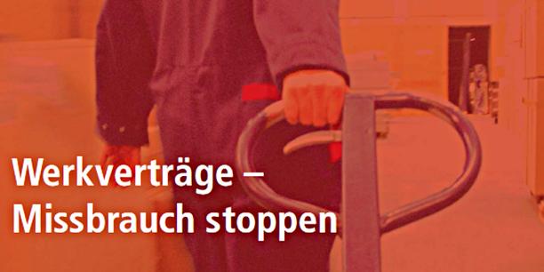 Screenshot Titel DGB-Broschüre Werkverträge - Missbrauch stoppen