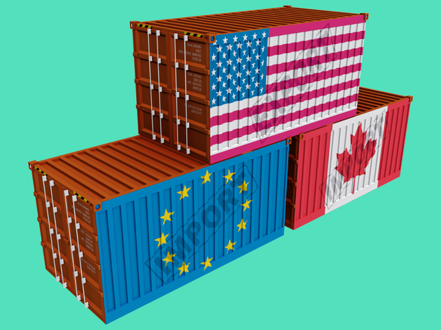 Grafik, Container mit Fahnen EU, Kanada, USA