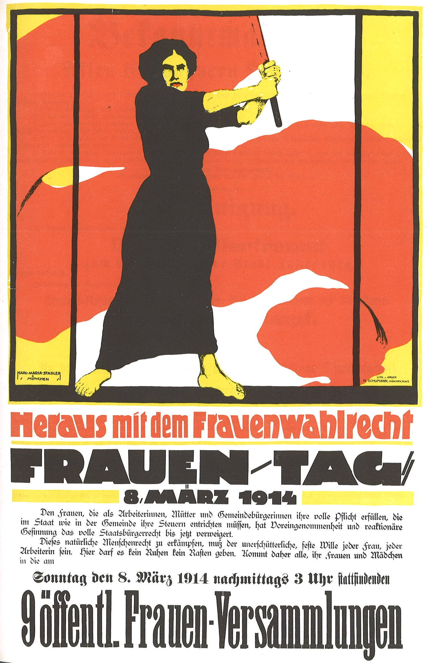 Historisches Plakat zum Internationalen Frauentag 1914