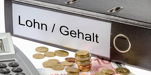 """Aktenordner """"Lohn / Gehalt"""" mit Kleingeld / Münzen und Taschenrechner"""