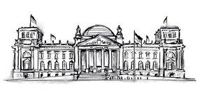 Zeichnung des Berliner Reichstag