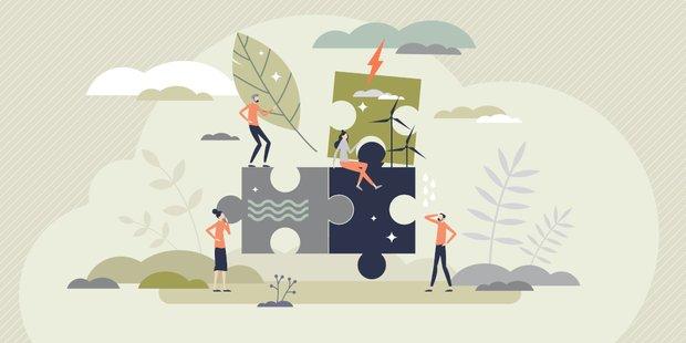 Grafik Comicfiguren und Umweltsymbole: Wolken, Regen, Eindräder....