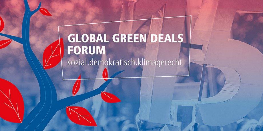 """Grafik eines Baums in Blau und Rot, Foto einer Demo im Hintergrund, Text: """"sozial. demokratisch. klimagerecht."""""""