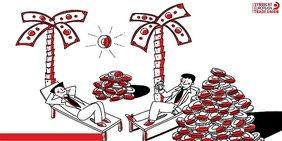 Reiche Menschen umgeben von Münzen und Geldbergen unter Palmen in Steueroase