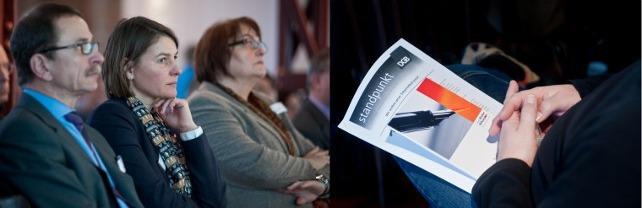 DGB-Vorstandsmitglied Claus Matecki, Kommunalexpertin Claudia Falk, Zuhörer