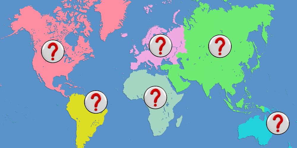 Zeichnung einer Weltkarte mit einem Fragezeichen auf jedem der Kontinente