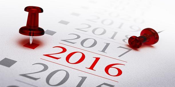 """Zahl """"2016"""" in Kalenderübersicht"""