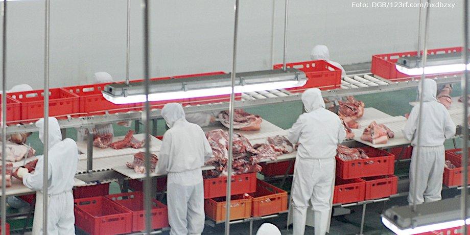 Produktionshalle einer Fleischindustrie-Anlage, neon-beleuchtet, mit Arbeiterinnen und Arbeitern in weißer Schutzkleidung