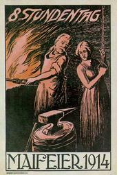 Maipostkarte 1914  8 Stundentag