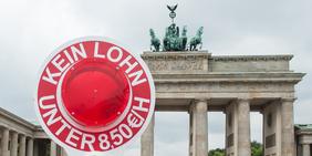 Mindestlohn-Aufsteller vor dem Brandenburger Tor