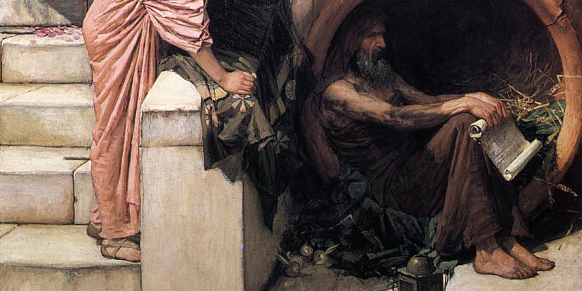 Gemäldeausschnitt, Stil 19. Jahrhundert, ein älterer Mann sitzt neben einer Treppe in einem Holzfass (so genannter Schmuckeremit)