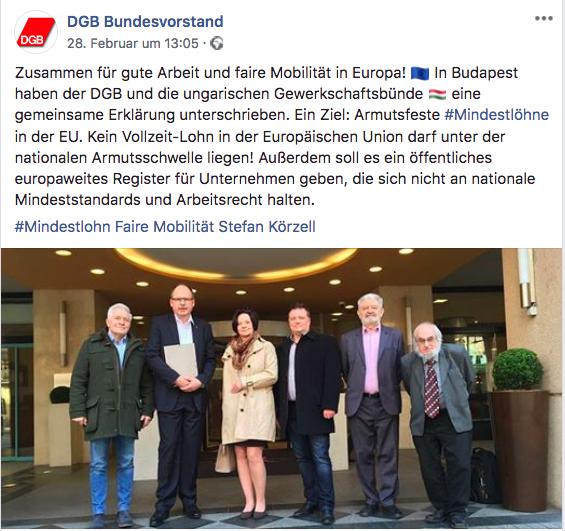 Screenshot Facebook-Post zur gemeinsamen Erklärung von DGB und ungarischen Gewerkschaftsbünden