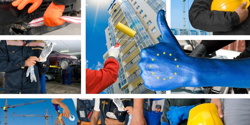 Nach oben ausgestreckter Daumen mit Europafahne, im Hintergrund Szenen aus der Arbeitswelt