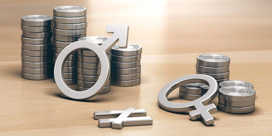 Münzstapel niedrig und Hoch mit Mann und Frau Symbol zur Darstellung der Lohnlücke