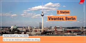 Tourankündigung Station 2 Vivantes mit Berlin Skyline und Fernsehturm