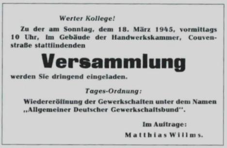 Aufruf Gründung ADGB/FDGB Aachen, März 1945