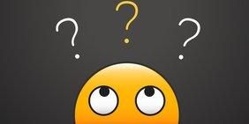 Gelbes Emoji mit Fragezeichen über dem Kopf