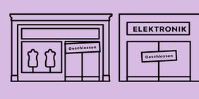Geschlossene Geschäfte in der Innenstadt