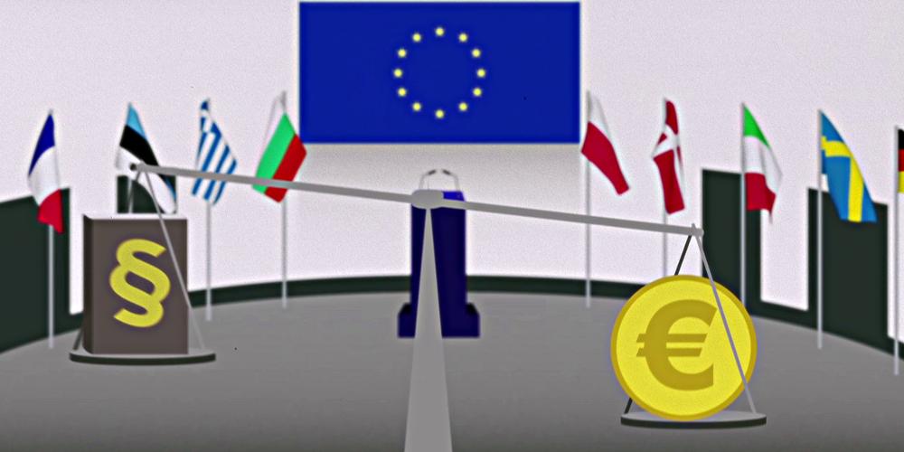 EU-Fahnen, Waage mit Gesetzbuch und Euro-Symbol