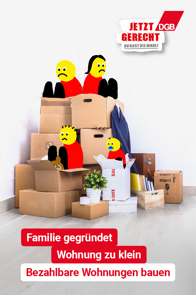 """Kampagnenmotiv """"Familie gegündet. Wohnung zu klein"""""""