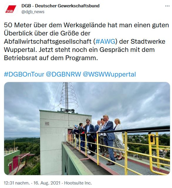 Ein Bild zur Sommerreise 2021 vom DGB-Vorsitzenden Reiner Hoffmann. Reiner Hoffmann auf dem Dach des Müllheizkraftwerks in Wuppertal.