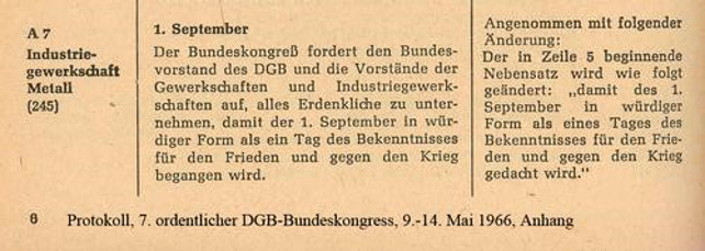 Beschluss Antrag IG Metall Antikriegstag 1966