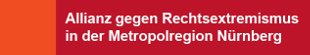 """Text """"Allianz gegen Rechtsextremismus in der Metropolregion Nürnberg"""" auf rot-orangenem Hintergrund"""