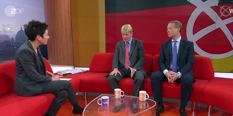 Screenshot eines Gesprächs beim ZDF-Morgenmagazin u.a. mit Dunja Hayali und DGB-Vorsitzendem Reiner Hoffmann