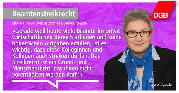 Zitat von DGB-Vize Elke Hannack zum Beamtenstreikrecht