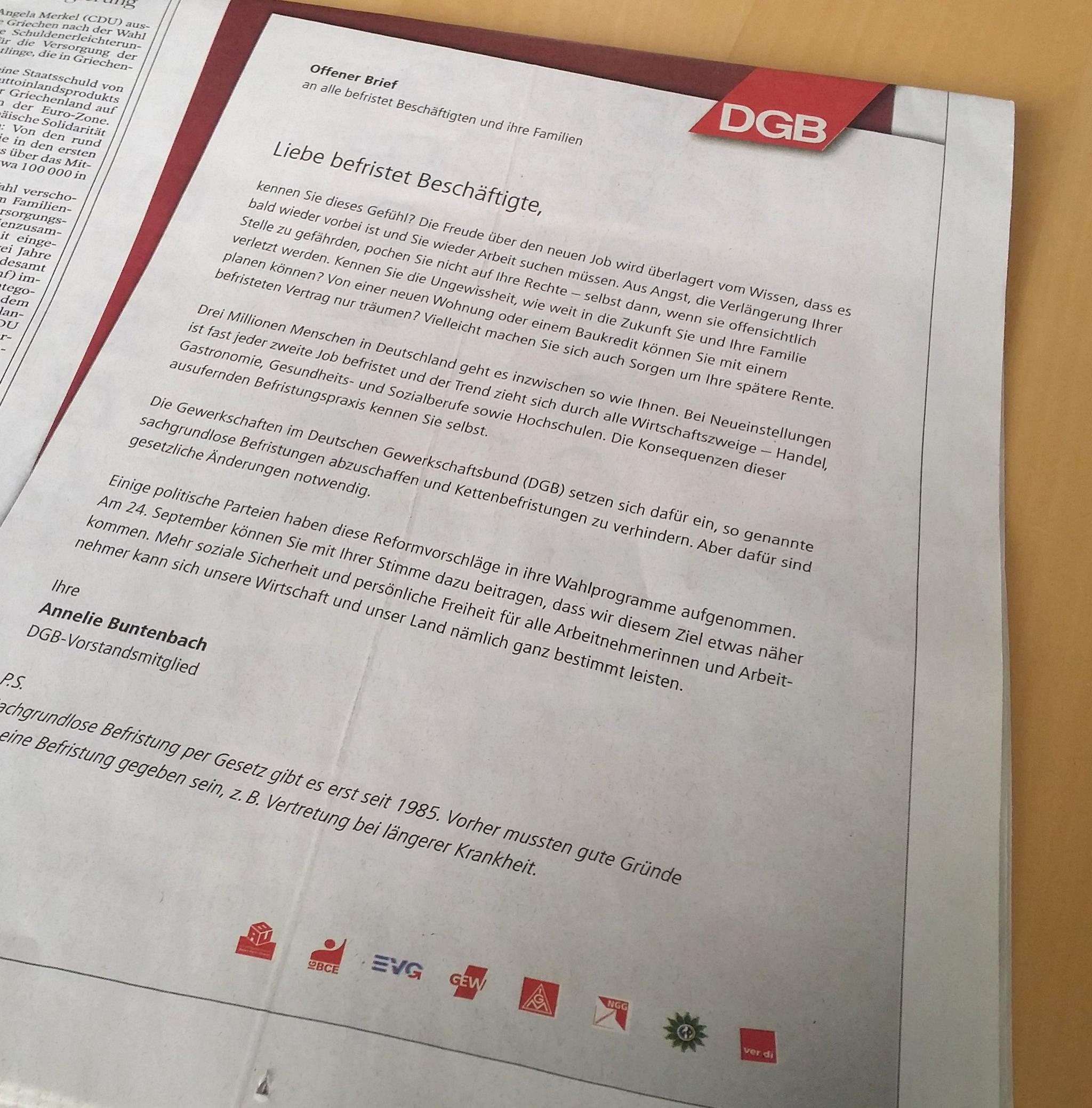 Abdruck des offenen Briefes in einer Tageszeitung