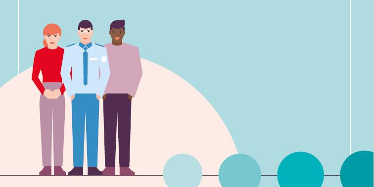 Grafik Drei Personen stehen nebeneinander
