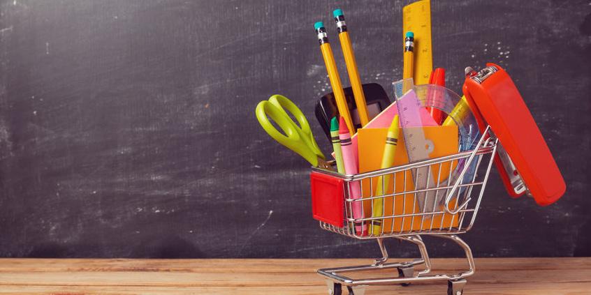 Miniatur Einkaufswagen mit Schul-Materialien
