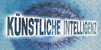 Schriftzug Künstliche Intelligenz vor Auge aus Binärcode