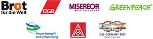Logos von: Brot für die Welt, DGB für Labour20, Forum Umwelt und Entwicklung, Greenpeace, IG Metall sowie Misereor