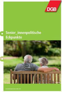 Broschürencover mit zwei älteren Menschen auf einer Bank: Seniorenpolitische Eckpuntke des DGB