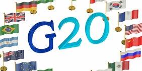 """Flaggen der G20-Länder mit Schriftzug """"G20"""" in der Mitte"""