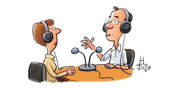 Karikatur mit einem Mann und einer Frau die an einem Tisch sitzen, auf dem Mikrofone stehen.