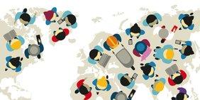 Zeichnungen von Menschen bei Arbeit (von oben) auf einer Weltkarte