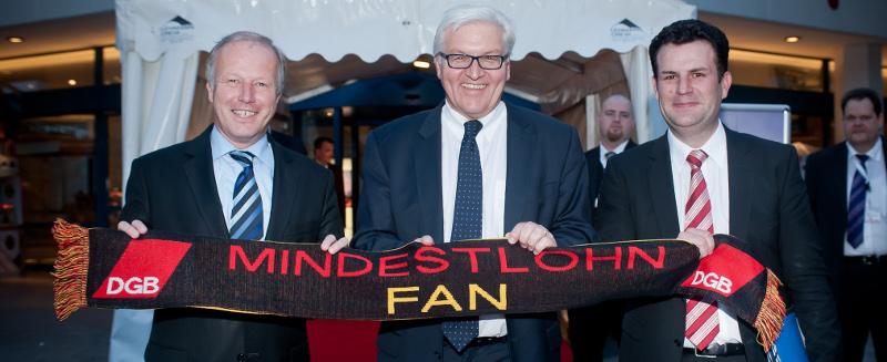Mindestlohn-Fans: Peter Weiß (CDU), Frank-Walter Steinmeier (SPD), Hubertus Heil (SPD)
