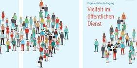 Menschenmenge in Pfeilform - Broschürentext Vielfalt im öffentlichen Dienst