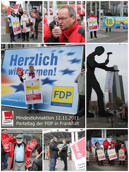Gewerkschafterinnen und Gewerkschafter bei FDP-Parteitag in Frankfurt am Main