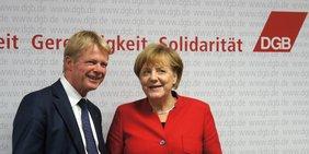 DGB-Vorsitzender Reiner Hoffmann und Bundeskanzlerin Angela Merkel