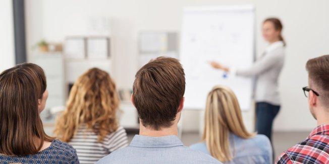 Teilnehmer von hinten bei einem Seminar