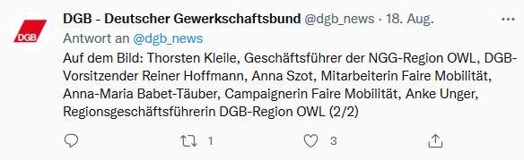 Foto von Reiner Hoffmanns Sommerreise 2021: Tweet vom Besuch beim DGB-Projekt FaireMobilitaet  in Rheda-Wiedenbrück.